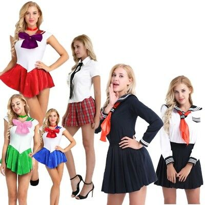 Women Sexy Lingerie Role Play School Girl Uniform Fancy Dress Costume Outfit