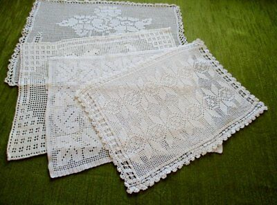 ANTIQUE TRAY CLOTHS - ALL HAND CROCHET - WHITE - Col.of 4