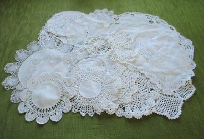 Vintage Mats Hand Crochet & Lace- Collection Of 20 - White