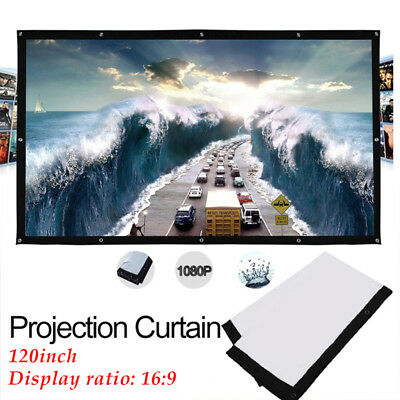 120inch Projection Screen 16:9 HD Foldable Projector Movies Screen Home Theater-