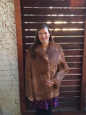 VINTAGE Womens Real Fox Rabbit Fur Coat Full Lined Winter MOTHERS-Day Sz 14-16