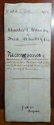 1922 Vellum Indenture Charles Allen to Fred Whalley. Property in Pilling