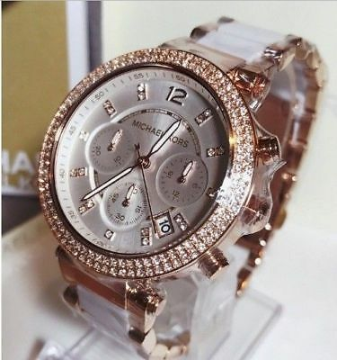 #new Genuine Micheal Kors Mk5774 Parker 39Mm White Dial Rose Gold Ladies Watch