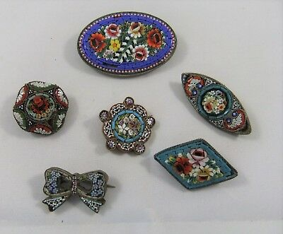 Small Collection of Six Pretty Antique/Vintage Italian Micro Mosaic Brooches