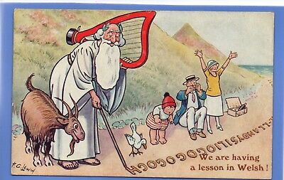 Old 1930 Postcard Artist Signed F G Lewin Lesson In Welsh Family Picnic Comic