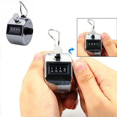 Silver stainless metal 4 Digit Number Clicker Golf Hand Tally Click Counter