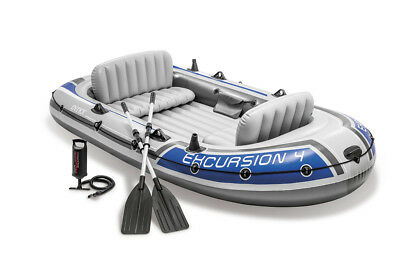 Schlauchboot Excursion 4 Set mit Paddel + Pumpe Boot Paddelboot Ruderboot Intex