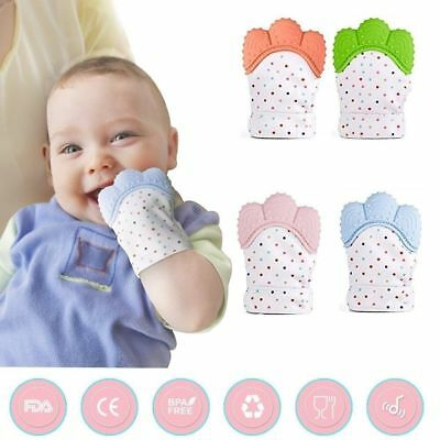 Silicone Baby Mitt Teething Mitten Teething Glove Candy Wrapper Sound Teether US