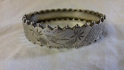 19th C. OR EDWARDIAN SILVER BANGLE AESTHETIC MOVEMENT SILVER BANGLE