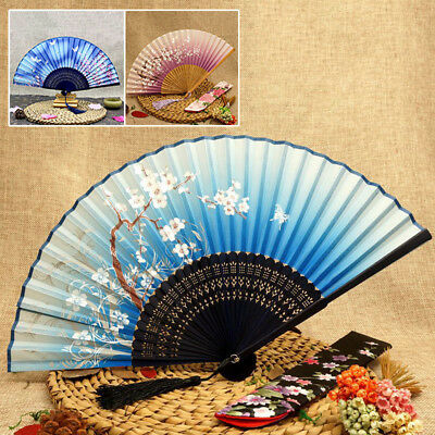 Chinese Japanese Folding Silk Blue Butterfly Hand emulation silk bamboo Fan