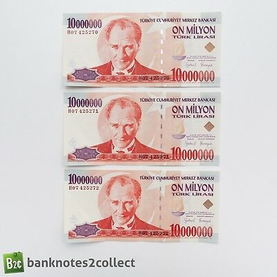 TURKEY: 3 x 10,000,000 Turkish Lira Banknotes. Consecutive Serial Numbers.