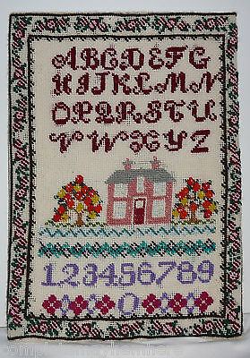 Completed Needlework Sampler on board Alphabet House Flowers Numbers Decor