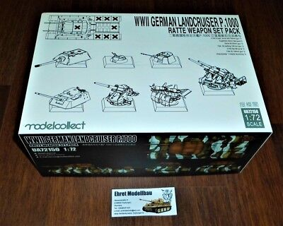 WWII Germany landcruiser p.1000 ratte weapon set pack 1:72 Modelcollect UA72150