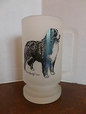 1980 Frosted Glass Bernese Mountain Dog Mug Stein