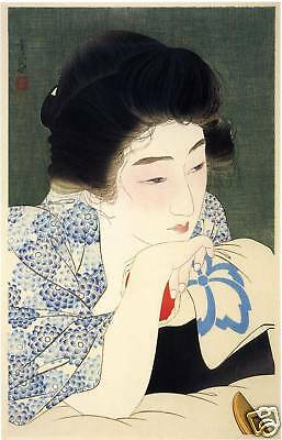 Japanese Art Print: Morning Hair - Kotondo Reproduction