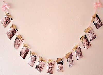 Polka Dot Sky 1st Birthday Recording 1-12 Month Photo Banner Garlands Monthly UK