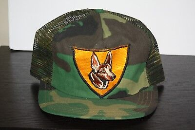042e8caab8f VINTAGE German Shepherd Patch Trucker Hat Dog Snapback Cap Camouflage MADE  USA