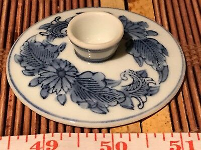 Asian Porcelain Replacement Lid for Tea Cup Blue and White Floral Design