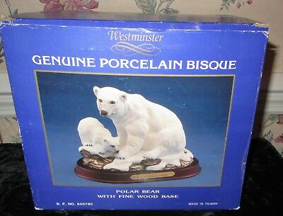 Westminster Bisque Porcelain Polar Bear W Cub On Wood Base