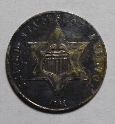 1861 3 Cent Silver UI61