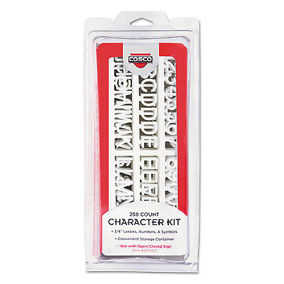 COSCO Character Kit Letters Numbers Symbols White Helvetica 258 Pieces 098233