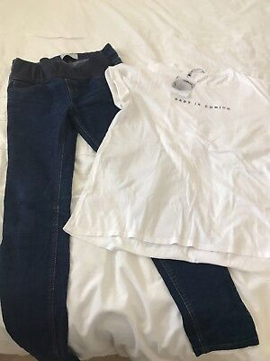 New Look Maternity Jeans And Mango T Shirt