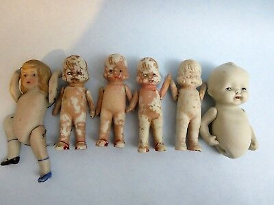 "Lot of 6 Old Vintage Baby Bisque Dolls Jointed Arms 4"" Creepy Cute Crafts Restor"