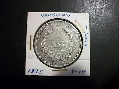 Uruguay 1895 1 Peso Silver large Coin Free USA Shipping