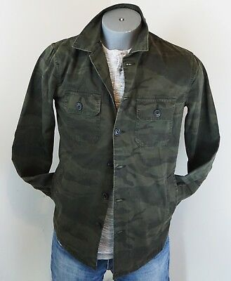 New $78 Abercrombie & Fitch Men's Military Shirt Jacket Camo Green M L NWT