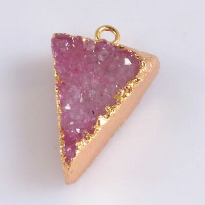 Triangle Hot Pink Agate Druzy Geode Charm One Bail Gold Plated T059454