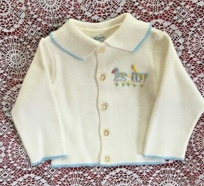 Vintage Baby White Sweater w Blue Trim by Sternberg