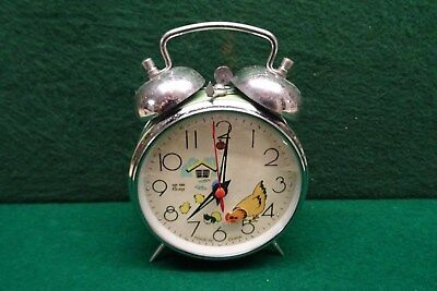 Vintage  Altomaton Childs Alarm Clock In Working Order, Hens Feeding With Chicks