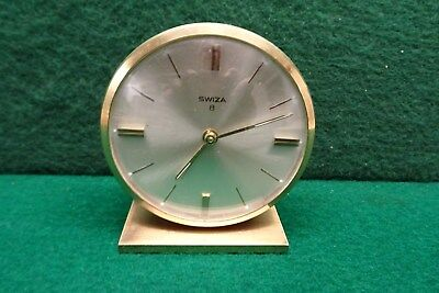 Swiza 8 Brass Alarm Clock In Working Order.