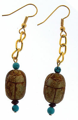 Vintage Egyptian  Scarab Earrings  with Turquoise & Garnets