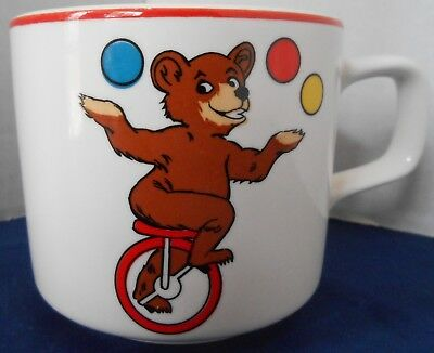 Juggling Bear Unicycle Children's Vintage Ceramic Mug/Cup Monkey/Banana Japan