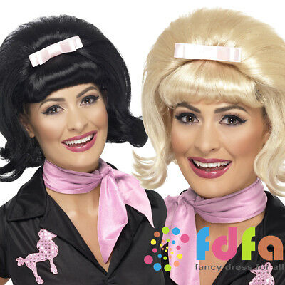 50's 1950s Flicked Beehive Wig with Ribbon Bow Womens Fancy Dress Costume