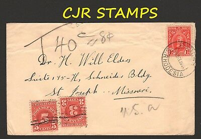 Southern Rhodesia 1931 Cover  -  Rurgwe To Missouri, Usa  -  Taxed Postage Due
