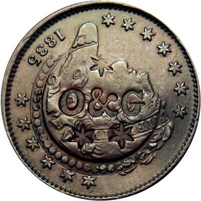 1835 Half Cent with O & G Counterstamp Hard Times Token HT-545 R5