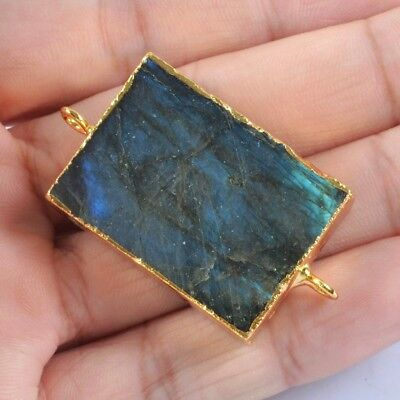 Rectangle Natural Labradorite Connector Gold Plated H114861