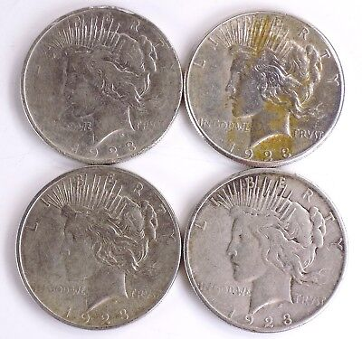 Lot Of 4 Peace Silver Dollars Free S/h #2868