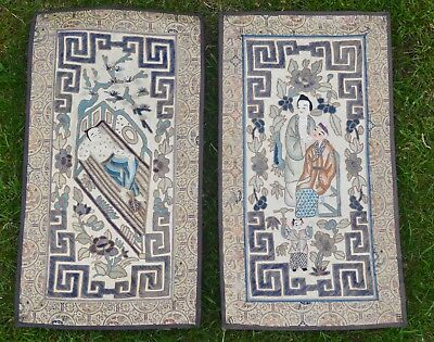 Pair Of Antique Chinese 20th Century Republic Silk Embroidered Panels