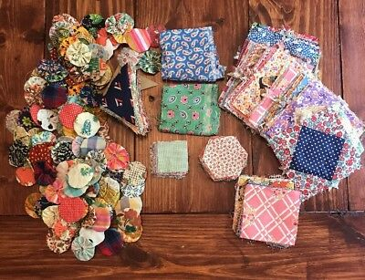 600+ Early 1900's Quilt Pieces Hand Sewn Squares & Yo-yo's !! LOOk!!