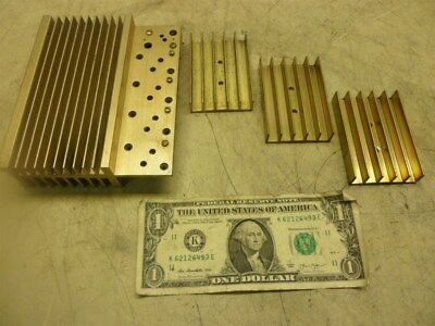 4 MISC SMALL HEATSINKS GOLD COLORING UNTESTED COMPONENTS 3 x 2 & 4-1/2 x 5-1/2