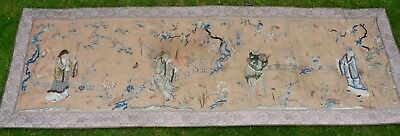 HUGE Antique Chinese 19th Century Qing Silk Embroidered Immortals Banner