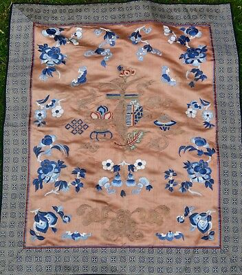 Antique Chinese Qing 19th Century Orange Ground Silk Embroidered Panel