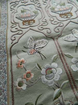 Vintage Chinese hand embroider couched metallic thread silk panel cushion front
