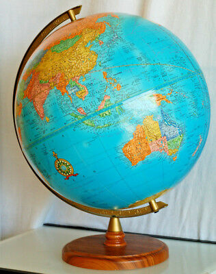 "CRAM'S IMPERIAL12"" WORLD GLOBE with Wood Base George F. Cram Made in USA"