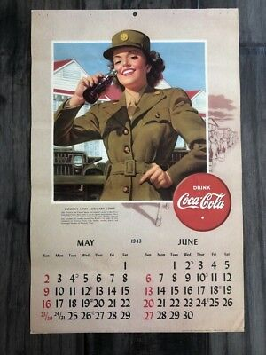 1943 Drink Coca Cola May/June Calendar Women's Army Auxiliary Corps !!!