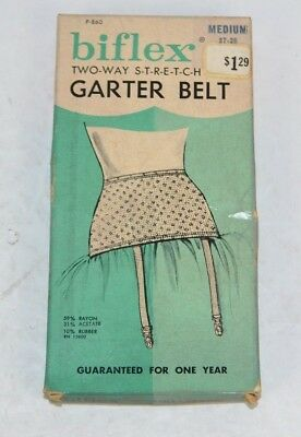 Vtg 1960's Biflex Two-Way Stretch GARTER BELT in Original Box Medium 27-28