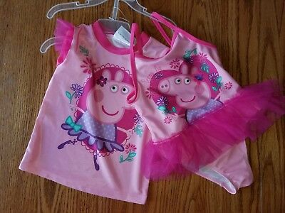 Nwt Girls Peppa Pig 2 Piece Set Swim Suit Cover Shirt Tutu Swimsuit Pink 2T 3T